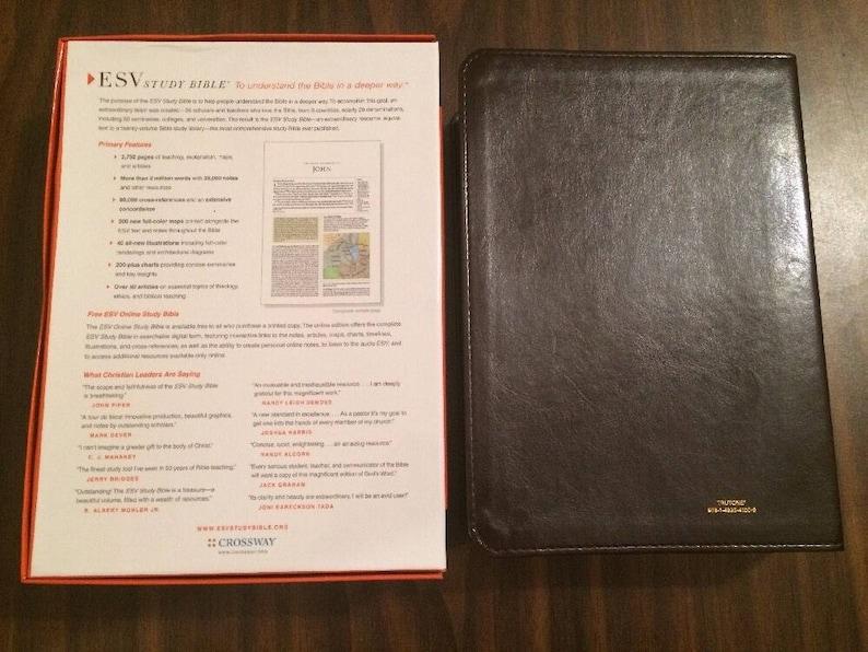 PERSONALIZED ** ESV Study Bible - Deep Brown Trutone ** Custom Imprinted
