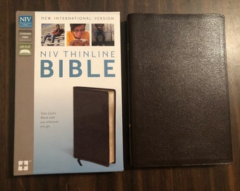 PERSONALIZED ** NIV Thinline Bible - Brown Bonded Leather ** Custom Imprinted