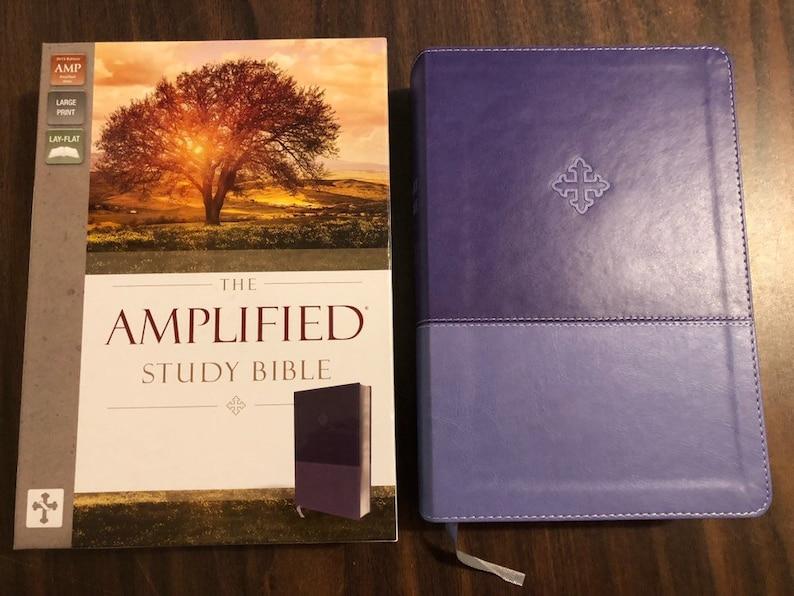 PERSONALIZED ** Amplified Study Bible Large Print - Purple LeatherSoft **  Custom Imprinted