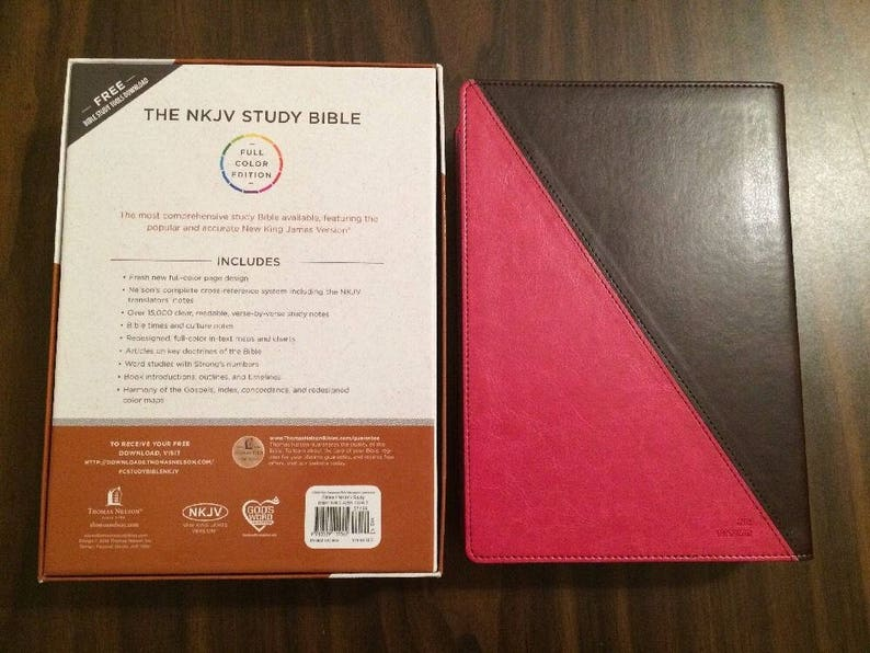 PERSONALIZED ** NKJV Study Bible - Raspberry / Mahogany Leathersoft **  Custom Imprinted