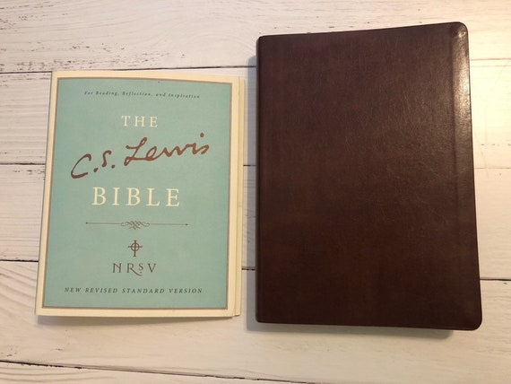 PERSONALIZED ** NRSV C  S  Lewis Study Bible - Brown Bonded Leather **  Custom Imprinted