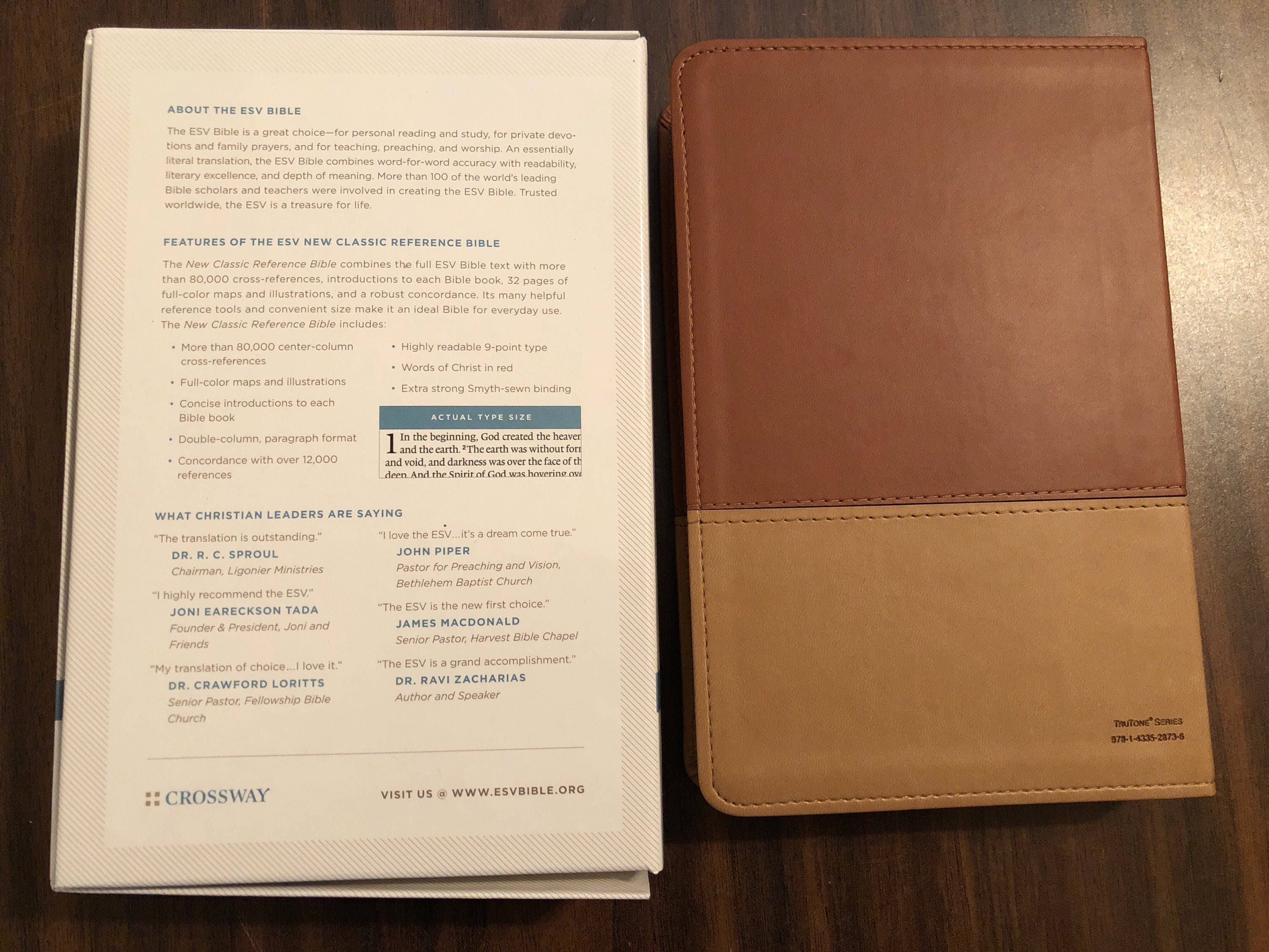 PERSONALIZED ** ESV Classic Reference Bible - Brown / Tan