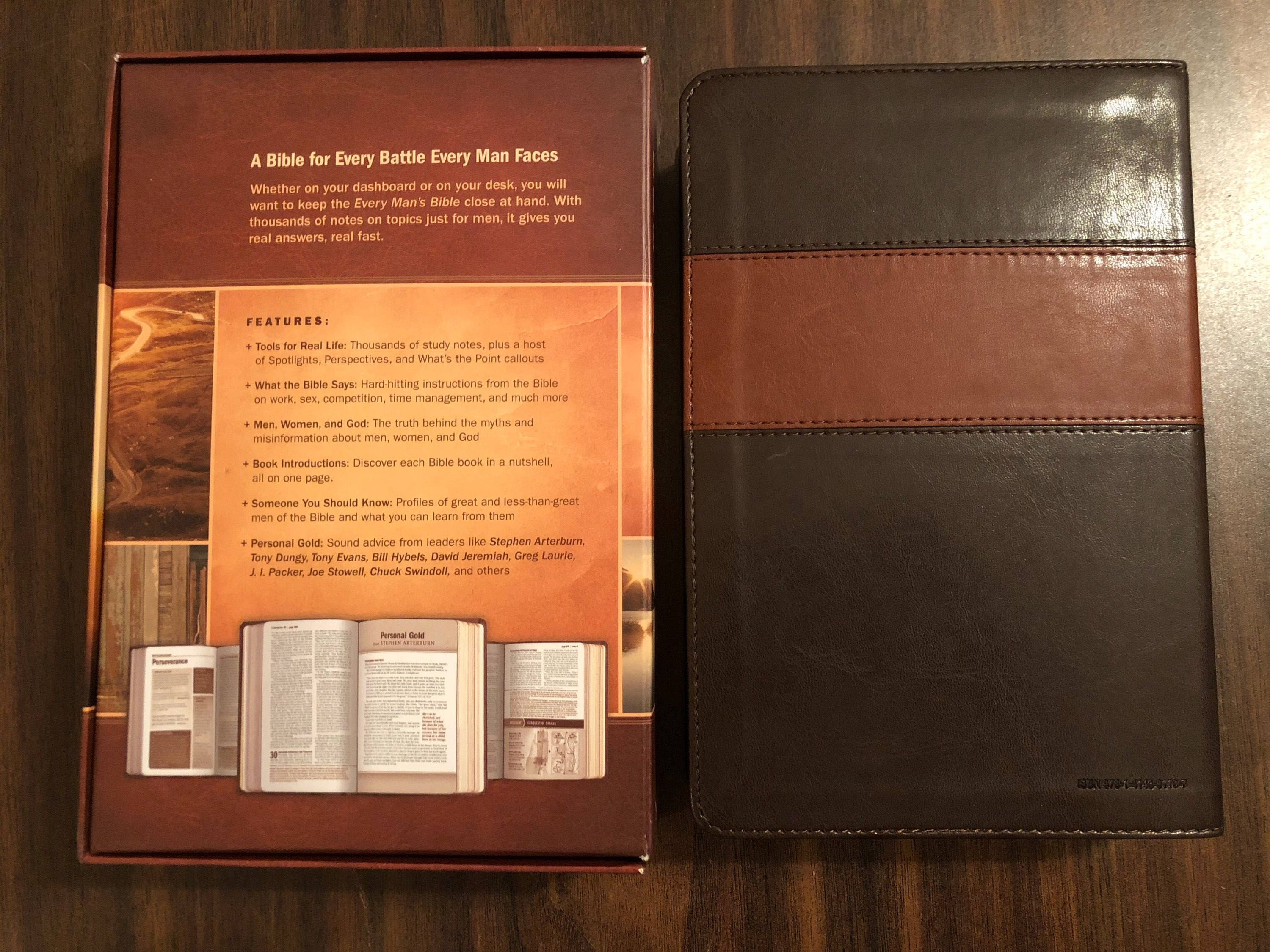 PERSONALIZED ** NIV Every Mans Devotional Bible - Brown
