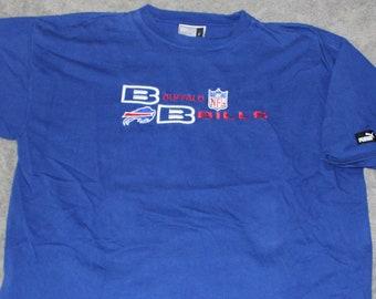 4f818f95d Vintage 90s Clothing NFL Buffalo Bills Football Puma Brand Men Size XL or  Oversized Womens Retro Embroidered Logo Blue Short Sleeve T Shirt