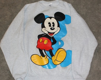 1dd984df1e9 Vintage 80s 90s Disney Clothing Mickey Mouse   Co Men Size Medium or  Oversized Womens Retro Standing Mickey Long Sleeve Crewneck Sweatshirt