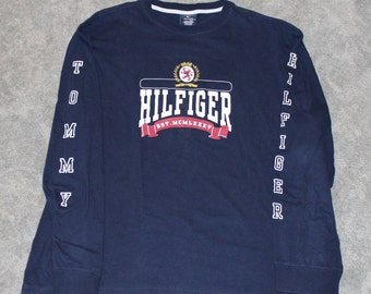 c0c7d4528 Vintage 2000s 90s Clothing Tommy Hilfiger Brand Mens Size XL or Oversized  Womens Navy Retro Crest Flag Logo Long Sleeve Spell Out T Shirt