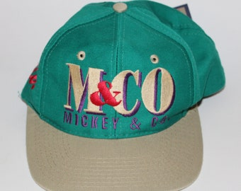 Vintage 90s Disney Clothing Mickey Mouse   Co Adjustable One Size Fits All  Adult Retro Embroidered Mickey Two Tone Snapback Baseball Cap Hat c2aade0ccd90