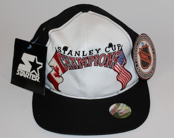 ad4599ff6aa Vintage 90s Clothing Starter NHL 1995 Stanley Cup Champions Adjustable One  Size Fits All Adult Retro Logo Two Tone Snapback Baseball Cap Hat