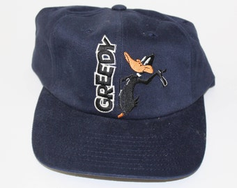 Vintage 80s 90s Clothing Looney Tunes Daffy Duck Adjustable Warner Brothers  Mens One Size Fits All Adult Embroidered Buckle Baseball Cap Hat 0ba0cff5a2f