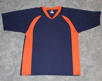 Vintage 90s Clothing NFL Denver Broncos Logo Athletic Men Size Medium    Oversized Womens Navy Retro Mesh Short Sleeve Blank Football Jersey 3e286ceb1