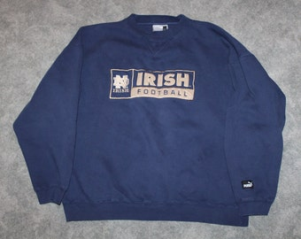 b0a803ff0 Vintage 90s Clothing University of Notre Dame Fighting Irish Football Men  Size Large or Oversized Womens Retro College Crewneck Sweatshirt