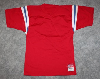 af28f6a03 Vintage 70s 80s Clothing NFL New England Patriots Football Sandknit Men Size  Small   Oversized Womens Retro Mesh Blank Red Football Jersey
