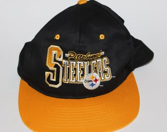 5b82571df66 Vintage 90s Clothing Team NFL Pittsburgh Steelers Football Adjustable One  Size Fits All Adult Retro Logo Two Tone Snapback Baseball Cap Hat