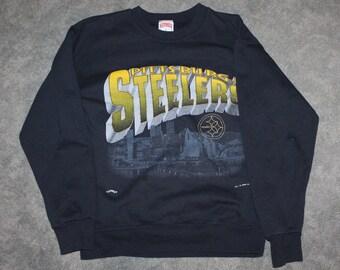 c083cdf62 Vintage 90s Clothing NFL Pittsburgh Steelers Football Men Size Medium    Oversized Womens Retro Skyline Print Long Sleeve Crewneck Sweatshirt
