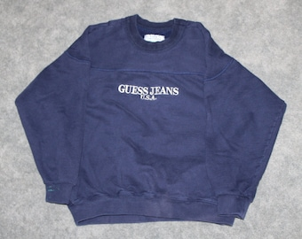 6711794fb9534e Vintage 80s 90s Clothing Guess Jeans USA Men Size Small   Oversized Womens  Retro Embroidered Spell Out Logo Long Sleeve Crewneck Sweatshirt