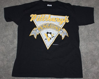 d41b3641b Vintage 90s Clothing NHL Pittsburgh Penguins Hockey 1991 Men Size Medium or  Oversized Womens Retro Spell Out Logo Print Short Sleeve T Shirt