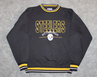 6bffb7819 Vintage 90s Clothing NFL Pittsburgh Steelers Football Men Size Large    Oversized Womens Retro Spell Out Logo Long Sleeve Crewneck Sweatshirt