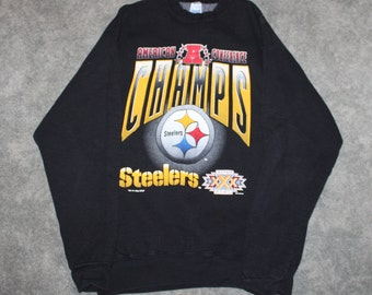 21acfe45 Vintage 90s Clothing NFL Pittsburgh Steelers Football Super Bowl Men Size  XL / Oversized Womens Retro Print Long Sleeve Crewneck Sweatshirt