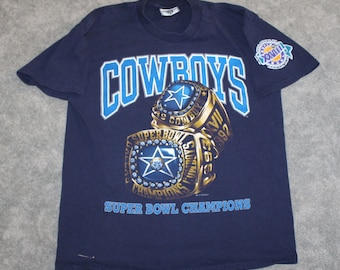 e8ea09e015b8 Vintage 90s Clothing NFL Dallas Cowboys Football Men Size Medium or  Oversized Womens Retro Super Bowl Ring Logo Print Short Sleeve T Shirt