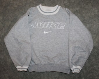 31d247c92 Vintage 90s Clothing Nike Sportswear Brand Kids Boys Size 7 Retro  Embroidered Spell Out Swoosh Logo Long Sleeve Pullover Crewneck Sweatshirt