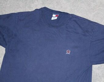 f808ac1f Vintage 90s Clothing Tommy Hilfiger Brand Men Size Large / Oversized Womens  Retro Embroidered Flag Crest Logo Navy Blue Short Sleeve T Shirt