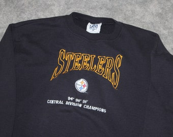 25d337305 Vintage 90s Clothing NFL Pittsburgh Steelers Football Men Size Large or  Oversized Womens Retro Logo Black Long Sleeve Crewneck Sweatshirt