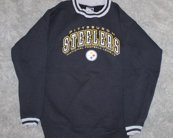 c60559c87f7 Vintage 90s Clothing NFL Pittsburgh Steelers Football Men Size Small /  Oversized Womens Retro Spell Out Logo Long Sleeve Crewneck Sweatshirt