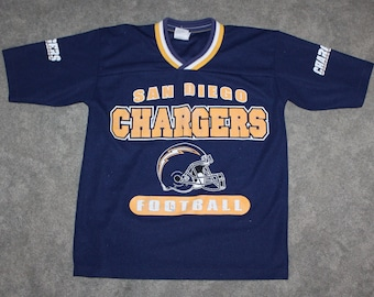 Vintage 90s Clothing San Diego Chargers Football Men Size Extra Small   XS  or Youth Large Retro Logo Mesh Navy Short Sleeve Football Jersey 942821d71