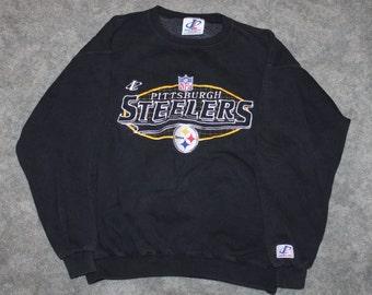 0a8d454a1 Vintage 90s Clothing NFL Pittsburgh Steelers Football Men Size Medium    Oversized Womens Retro Spellout Logo Long Sleeve Crewneck Sweatshirt