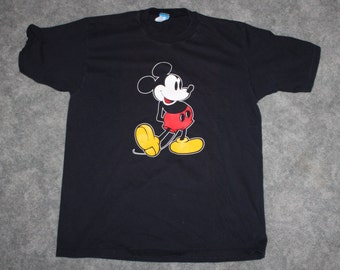 0692fef9 Vintage 80s 90s Disney Clothing Mickey Mouse Men Size Large / Oversized  Womens Retro Original Standing Logo Print Black Short Sleeve T Shirt
