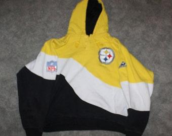 31fe0c01b Vintage 90s Clothing NFL Pittsburgh Steelers Football Men Size Medium /  Oversized Womens Retro Logo Colorblock Pullover Hoodie Sweatshirt