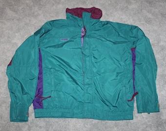 9af6db6af3bb5 Vintage 90s Clothing Columbia Sportswear Bugaboo Men Size Large or  Oversized Womens Retro Embroidered Logo Green Full Zip Winter Ski Jacket