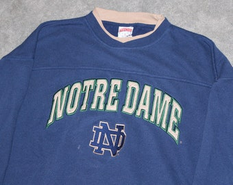 2028214f Vintage 90s Clothing University of Notre Dame Fighting Irish Men Size XL or  Oversized Womens Retro Long Sleeve College Crewneck Sweatshirt
