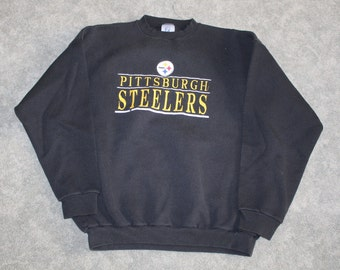 5037d39c7c3 Vintage 90s Clothing NFL Pittsburgh Steelers Football Men Size XL    Oversized Womens Retro Spell Out Logo Long Sleeve Crewneck Sweatshirt