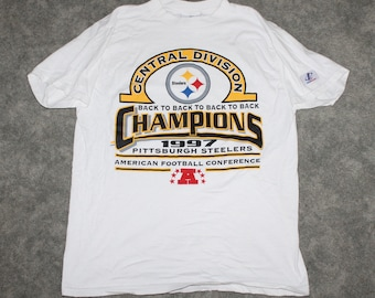 352d1f5f Vintage 90s Clothing NFL Pittsburgh Steelers Football Men Size Medium /  Oversized Womens Retro Spell Out Logo AFC Print Short Sleeve T Shirt