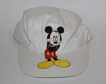 b5b6bec41da Vintage 80s 90s Disney Clothing Mickey Mouse Scrunch One Size Fits All Adult  Retro Embroidered Mickey Standing White Flex Baseball Cap Hat