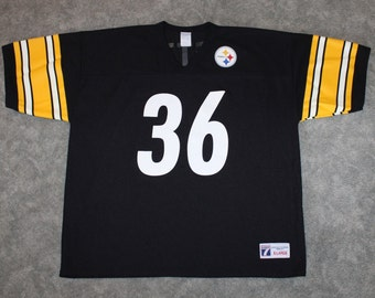 b085a87a878 Vintage 90s Clothing NFL Jerome Bettis Pittsburgh Steelers Football Logo 7  Men Size XL or Oversized Womens Retro #36 Black Football Jersey