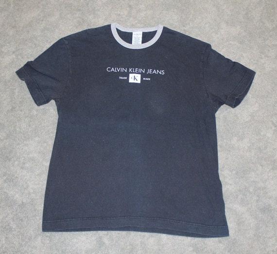 Schwarzer Vintage Retro oversize Calvin Klein Pullover