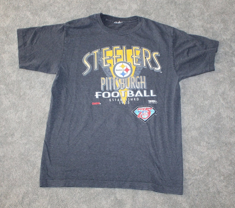 32f9ac15 Vintage 90s Clothing NFL Pittsburgh Steelers Football Men Size Medium /  Oversized Womens Retro Spell Out Logo Striped Short Sleeve T Shirt