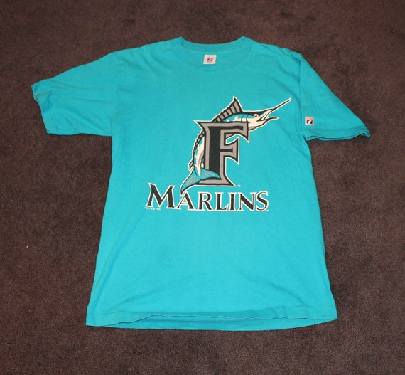 best service b9679 7e635 Vintage 90s Clothing MLB Florida Miami Marlins Baseball Men Size Large or  Oversized Womens Retro Spell Out Logo Print Short Sleeve T Shirt
