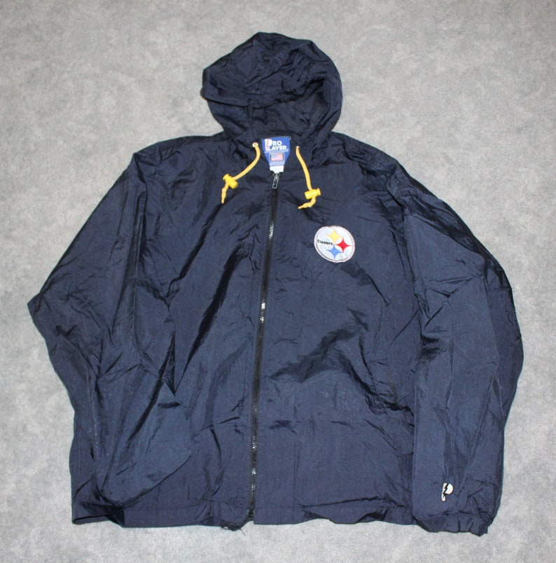 timeless design 7e3ee 89a31 Vintage 90s Clothing NFL Pittsburgh Steelers Football Men Size XL /  Oversized Womens Retro Embroidery Logo Full Zip Windbreaker Track Jacket