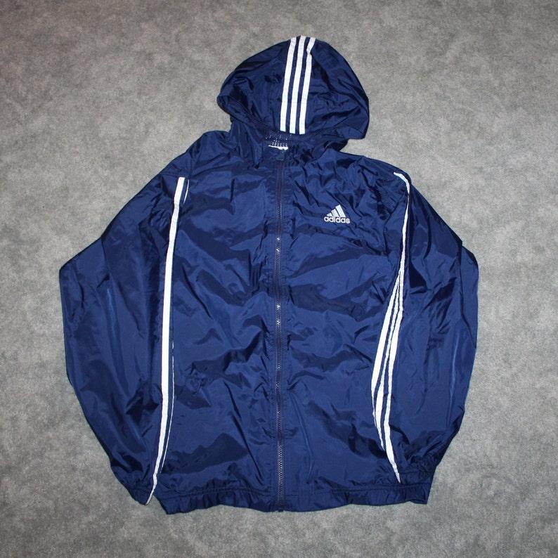Vintage 90s Clothing Adidas Sportswear Men Size Medium Oversized Womens Retro Embroidered Spell Out Logo Full Zip Windbreaker Track Jacket