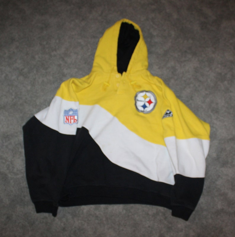 quality design 5499c f47a9 Vintage 90s Clothing NFL Pittsburgh Steelers Football Men Size Medium /  Oversized Womens Retro Logo Colorblock Pullover Hoodie Sweatshirt