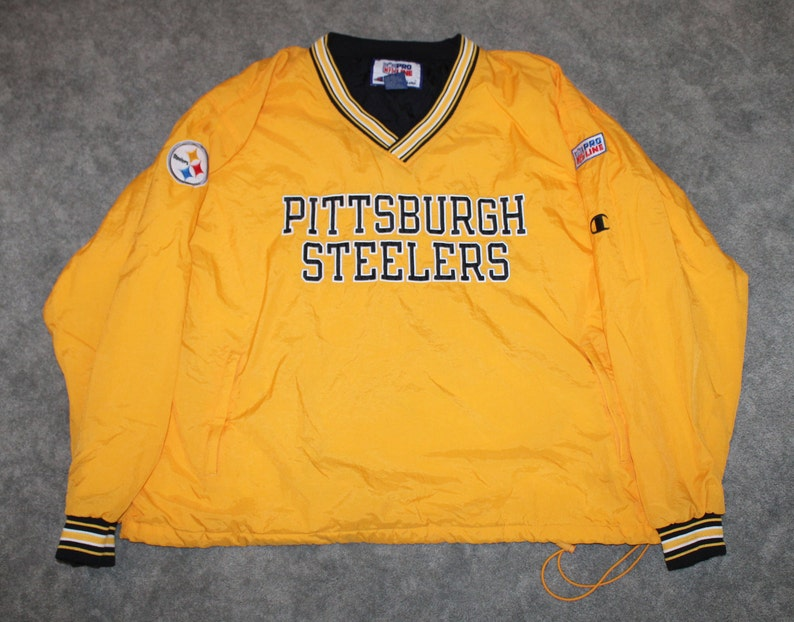 uk availability a72e7 eef4e Vintage 90s Clothing NFL Pittsburgh Steelers Football Champion Men Size XXL  / Oversized Womens Retro Embroidered Logo Windbreaker Jacket