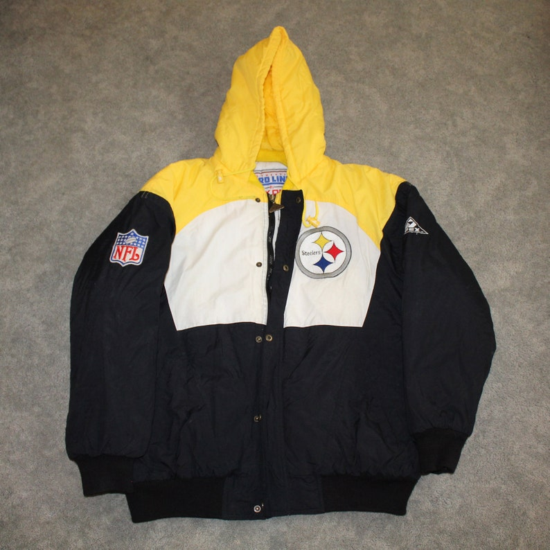 watch 5fb50 2a849 Vintage 90s Clothing NFL Pittsburgh Steelers Football Men Size Medium /  Oversized Womens Retro Embroidered Logo Full Zip Winter Jacket Coat