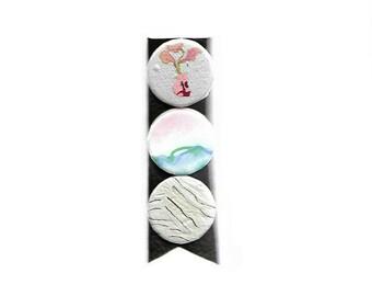 Still Life set of three, pinback buttons