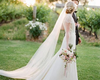 BEST PRICE! Soft CATHEDRAL Single Tier 1T Simple Raw Cut Edge Luxury Bridal Length Wedding Veil - Available in White, Light Ivory, Ivory