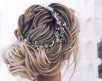 BEST PRICE! Handmade Silver Rhinestone Pearl Crystal Hair Vine, Pearl Headpiece, Boho Bridal Vine, Bridal Vine, Wedding Hair Piece, Tiara