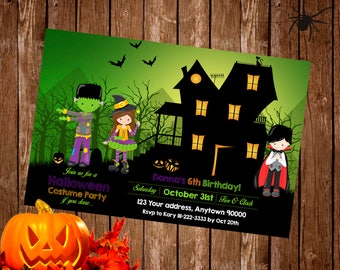 HALLOWEEN COSTUME PARTY Invitation, Halloween Birthday Party Invitation, Halloween Invite custom, Digital file or 12 Printed invitations