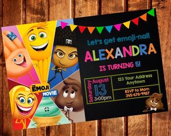 EMOJI MOVIE Invitation EMOTICON Birthday Party Emoji Movie Invite Printable Custom Digital File Or 12 Printed W Envelopes